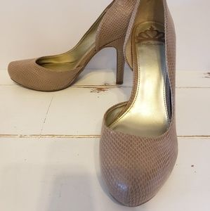 Fergalicious by Fergie tan snakeskin high heels